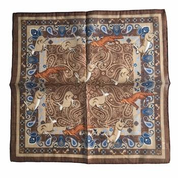 Animal Linen/Cotton Pocket Square - Brown/Beige/Navy Blue