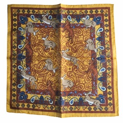 Animal Linen/Cotton Pocket Square - Mustard Yellow/Brown/Blue