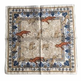 Animal Linen/Cotton Pocket Square - White/Beige/Blue