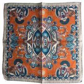 Oriental Linen/Cotton Pocket Square - Orange/Grey/Navy Blue/Turquoise