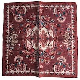 Oriental Linen/Cotton Pocket Square - Burgundy/Beige