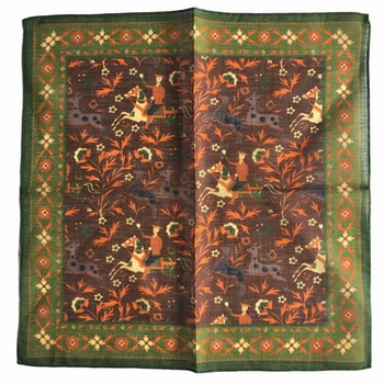 The Hunt Linen/Cotton Pocket Square - Brown/Green/Orange