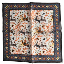 The Hunt Linen/Cotton Pocket Square - White/Navy Blue/Brown/Orange