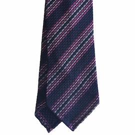 Regimental Silk Grenadine Tie - Untipped - Navy Blue/Pink/White