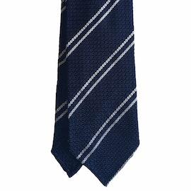 Regimental Silk Grenadine Tie - Untipped - Navy Blue/White
