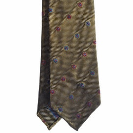 Floral Silk Grenadine Tie - Untipped - Yellow/Red/Light Blue