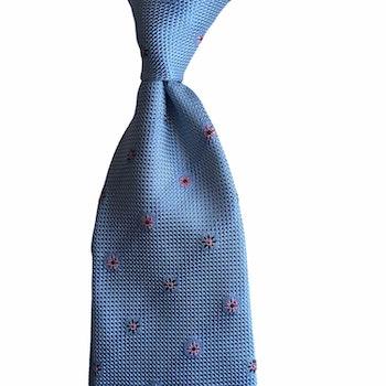 Floral Silk Grenadine Tie - Untipped - Light Blue/Red/Navy Blue