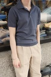 Pima Cotton Short Sleeve Polo - Steel Blue/Grey