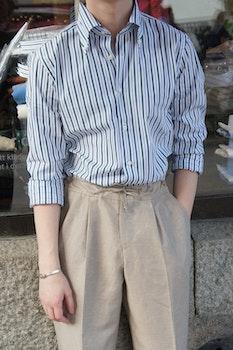 Striped Poplin Shirt - Button Down - White/Green/Navy Blue
