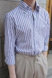 Striped Poplin Shirt - Button Down - White/Burgundy/Navy Blue