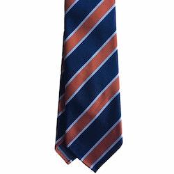 Regimental Rep Silk Tie - Untipped - Navy Blue/Light Blue/Orange