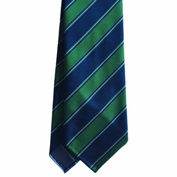 Regimental Rep Silk Tie - Untipped - Navy Blue/Light Blue/Green