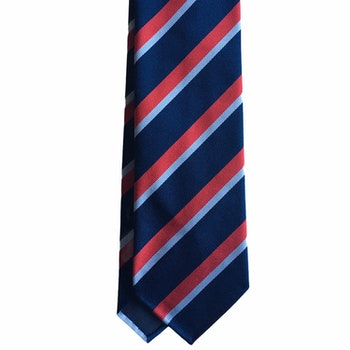 Regimental Rep Silk Tie - Untipped - Navy Blue/Light Blue/Red