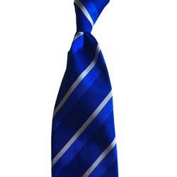 Regimental Rep Silk Tie - Untipped - Navy Blue/Mid Blue/White