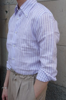 Bengal Stripe Linen Shirt - Button Down - Purple/White
