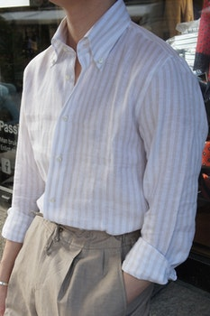 Bengal Stripe Linen Shirt - Button Down - Beige/White