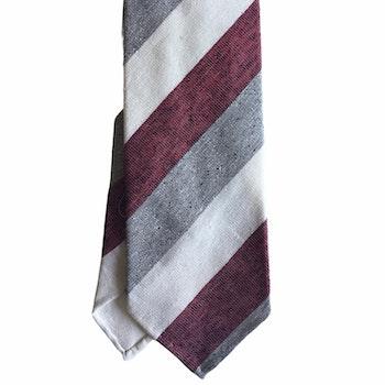 Regimental Cotton/Silk Tie - Untipped - Grey/White/Burgundy