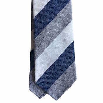 Regimental Cotton/Silk Tie - Untipped - Grey/White/Navy Blue