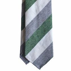 Regimental Cotton/Silk Tie - Untipped - Grey/White/Green