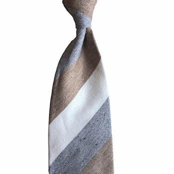 Regimental Cotton/Silk Tie - Untipped - Grey/White/Brown