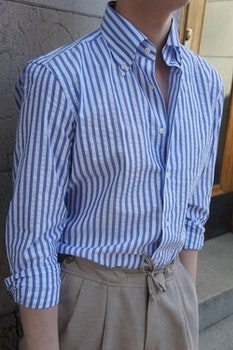 Bengal Stripe Seersucker Cotton Shirt - Button Down - Light Navy Blue/White