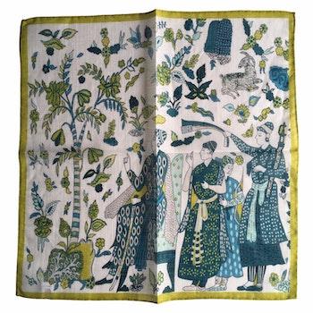 Serenity Linen/Cotton Pocket Square - White/Blue/Yellow