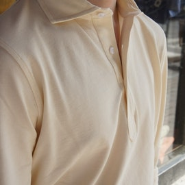 Solid Long Sleeve Polo Shirt - Cutaway - Cream