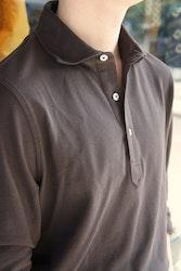Solid Long Sleeve Polo Shirt - Cutaway - Dark Brown