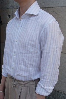 Bengal Stripe Linen Shirt - Cutaway - Beige/White