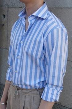 Wide Stripe Poplin Shirt - Cutaway - Light Blue/White