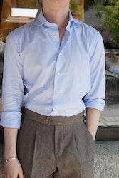 Thin Stripe Oxford Shirt - Cutaway -Light Blue/White