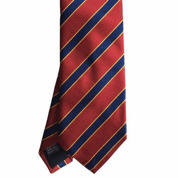 Regimental Silk Tie - Red/Navy Blue/Orange