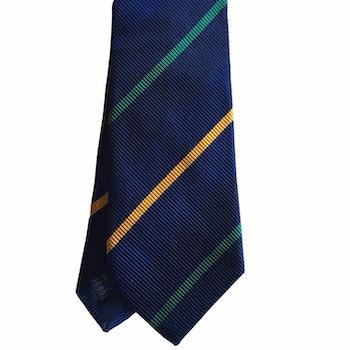 Regimental Silk Tie - Navy Blue/Dark Green/Mustard