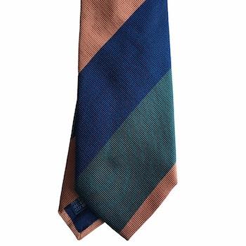 Blockstripe Silk Tie - Navy Blue/Olive Green/Orange