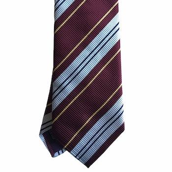 Regimental Silk Tie - Burgundy/White/Yellow