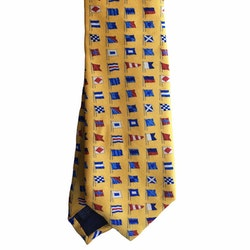 Flag Printed Silk Tie - Yellow/Light Blue/Red