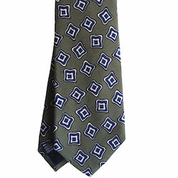 Floral Printed Silk Tie - Olive Green/Navy Blue/White
