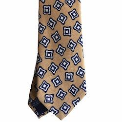 Floral Printed Silk Tie - Beige/Navy Blue/White