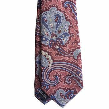 Paisley Printed Silk Tie - Burgundy/Navy Blue/Light Blue
