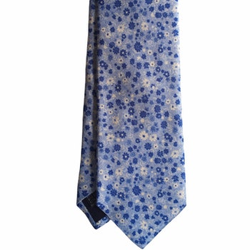 Small Floral Printed Silk Tie - Light Blue/Navy Blue/White