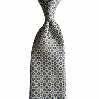 Floral Printed Silk Tie - Yellow/Light Blue