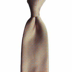 Small Check Printed Silk Tie - Orange/Light Blue