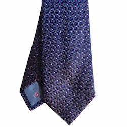 Micro Silk Tie - Navy Blue/Brown/Purple/Lilac