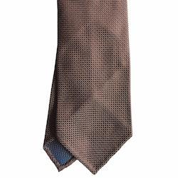 Micro Rep Silk Tie - Untipped - Beige/Light Blue