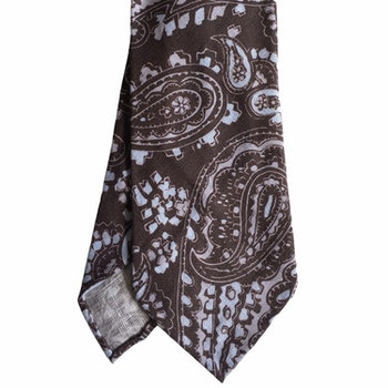 Paisley Printed Linen Tie - Untipped - Brown/Light Blue