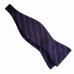 Regimental Grenadine Bow Tie - Dark Purple/White
