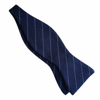 Regimental Grenadine Bow Tie - Navy Blue/White