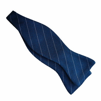 Regimental Grenadine Bow Tie - Petrol/White
