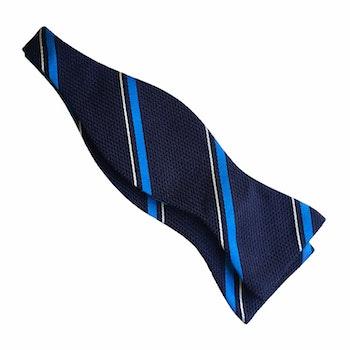 Regimental Grenadine Bow Tie - Navy Blue/Cobolt/White