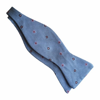 Floral Grenadine Bow Tie - Light Blue/Navy Blue/Pink